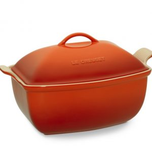 Le Creuset Stoneware Deep Covered Baker, 4 1/2-Qt., Flame